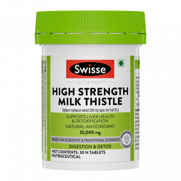 Swisse Ultiboost High Strength Milk Thistle, Natural Antioxidant Supports Liver Function & Detoxification, 30 Tablets