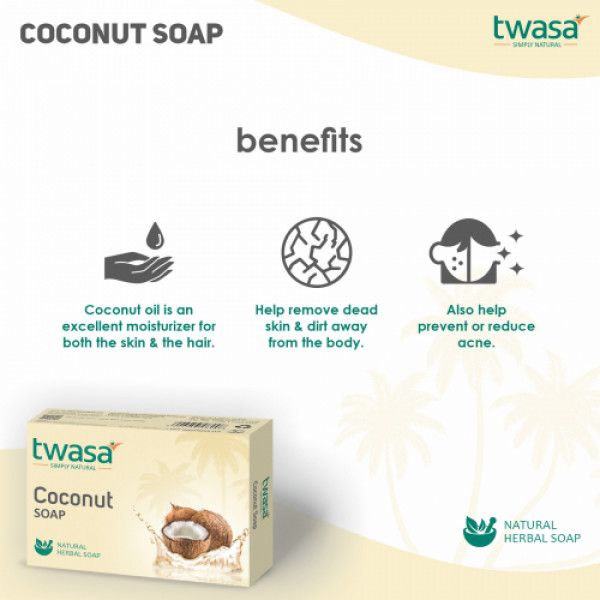 Twasa Coconut Bath Soap, 100gm (Pack of 4)