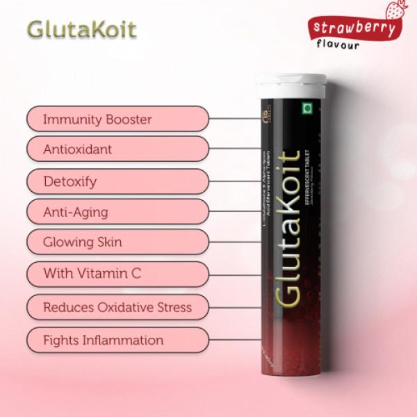Gluta Koit Strawberry Effervescent, 15 Tablets