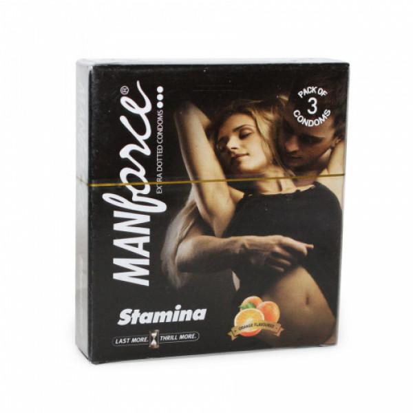 Manforce Orange Extra Dotted Condoms, 3 Pieces