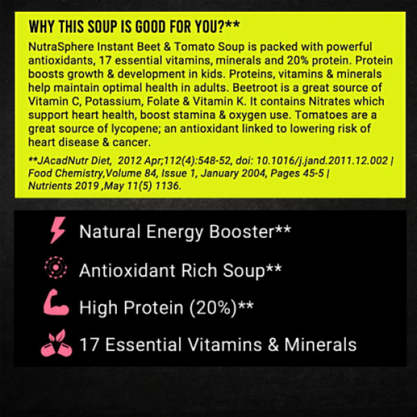 NutraSphere Beet & Tomato Antioxidant Soup With Lemon Coriander Diet Soup, 10 Sachets (Pack of 2)