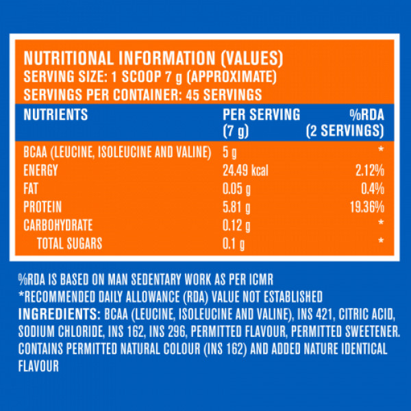 Fast&Up BCAA Essentials Pre&Post Workout & Intra Workout Watermelon Supplement, 45 Servings