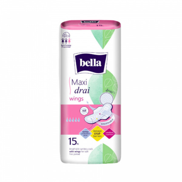 Bella Maxi Drai Wings Classic Sanitary Napkins, 15 Pieces (Pack of 3)