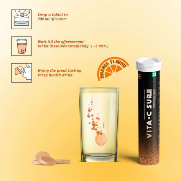 Vita-C Sure Orange Effervescent, 15 Tablets