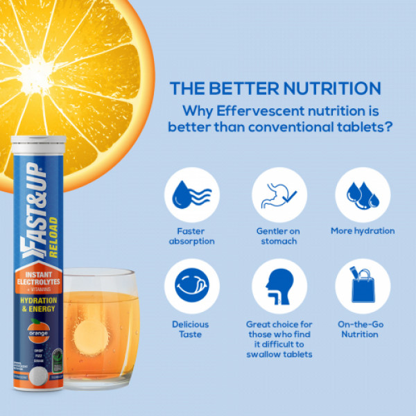 Fast&Up Reload Electrolyte Energy and Hydration Orange, 20 tablets