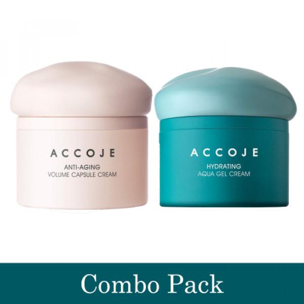 Accoje Anti - Aging Volume Capsule Cream + Hydrating Aqua Gel Cream, 100ml