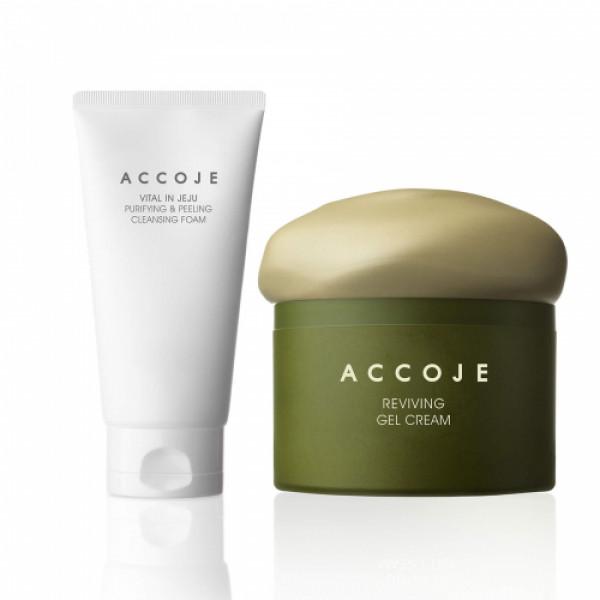 Accoje Vital in Jeju Purifying & Peeling Cleansing Foam + Reviving  Gel cream, 200ml