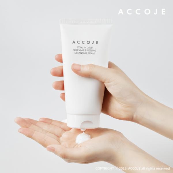 Accoje Vital in Jeju Purifying & Peeling Cleansing Foam + Reviving Dust Cleansing Gel to Foam, 330ml
