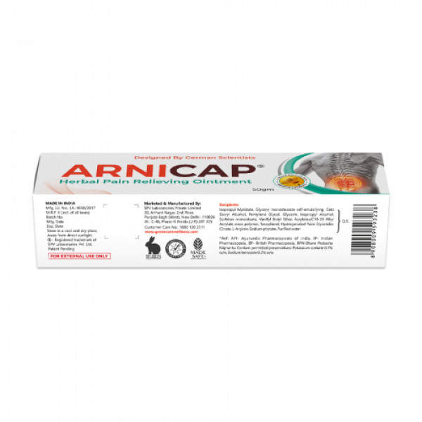 Green Cure Arnicap Herbal Pain Relieving Cream, 50gm
