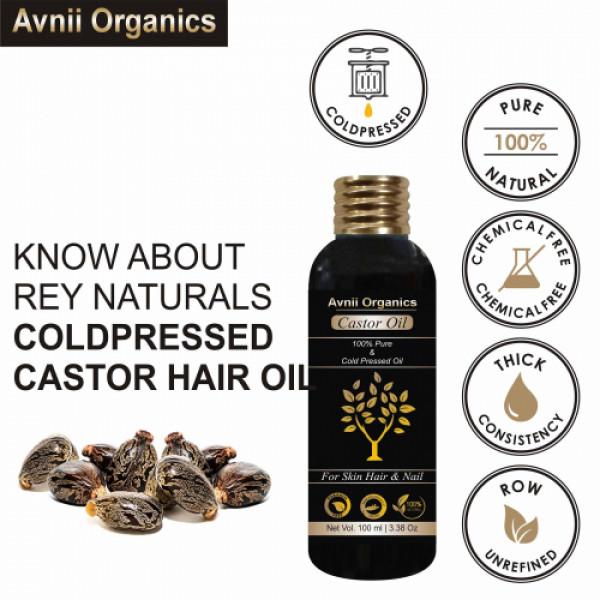 Avnii Organics Cold Pressed Castor Oil, 100ml