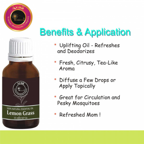 Avnii Organics Natural Lemon Grass Essential Oil, 15ml