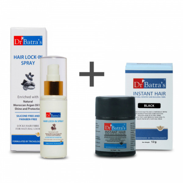 Dr Batra's Instant Hair Natural Keratin Hair Building Fibre Black with PRO+ Lock-In Spray Combo Pack