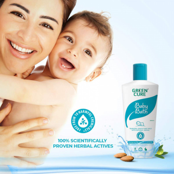 Green Cure Natural Baby Bath Soothing & Gentle for Sensitive Baby Skin, 200ml