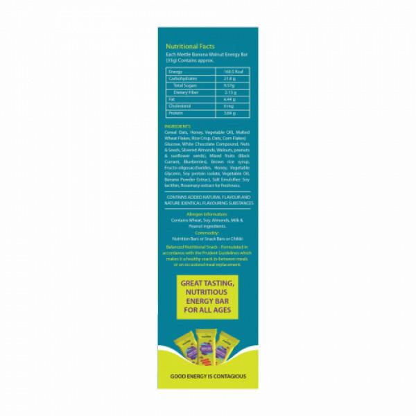 Mettle Banana Walnut Energy Bar, 35gm (Pack Of 12)