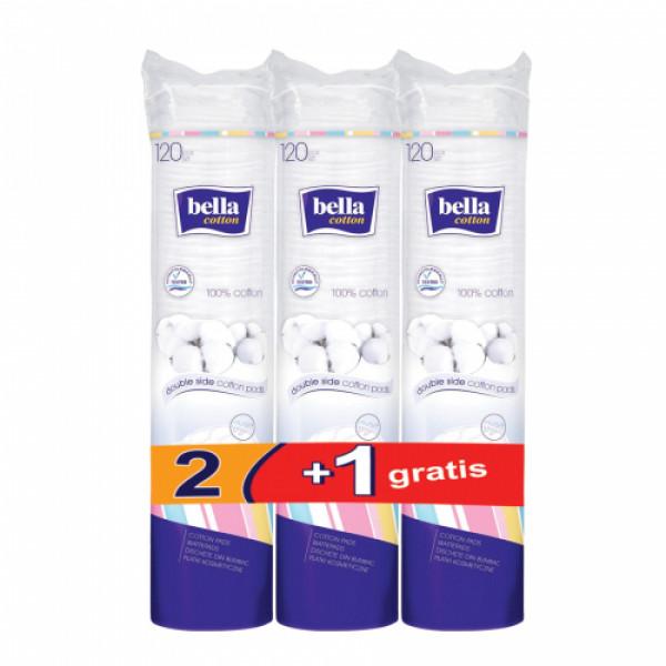 Bella Cotton Pads, 120 Pieces (2+1 Combi Pack)