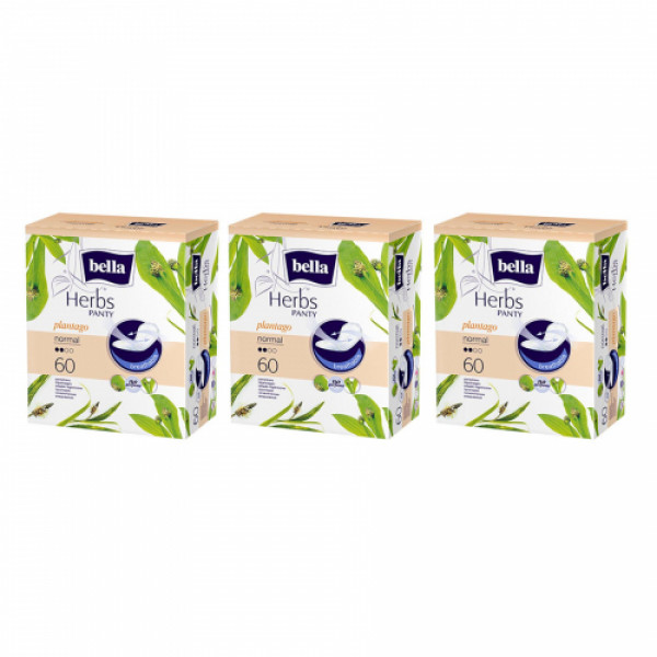 Bella Herbs Pantyliners Sensitive With Plantago, 60 Pieces ( Pack Of 3)