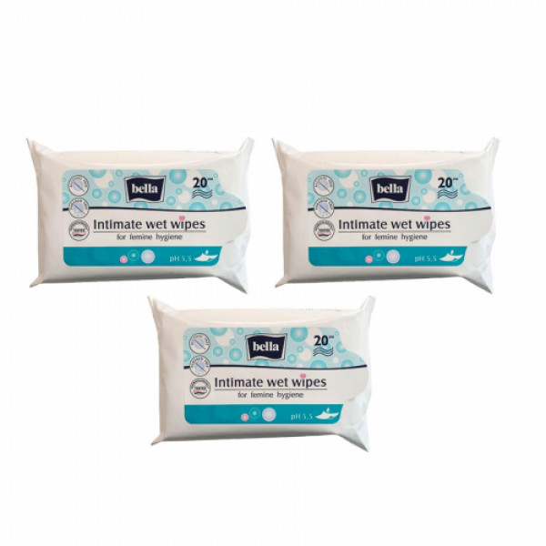 Bella Intimate Care Wet Wipes, 20 Pieces (Pack Of 3)