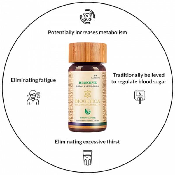 Biogetica Diasolve - Sugar and Metabolism Support, 80 Tablets