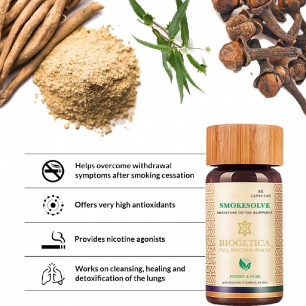 Biogetica Smokesolve - Nicotine Detox Support, 80 Capsules