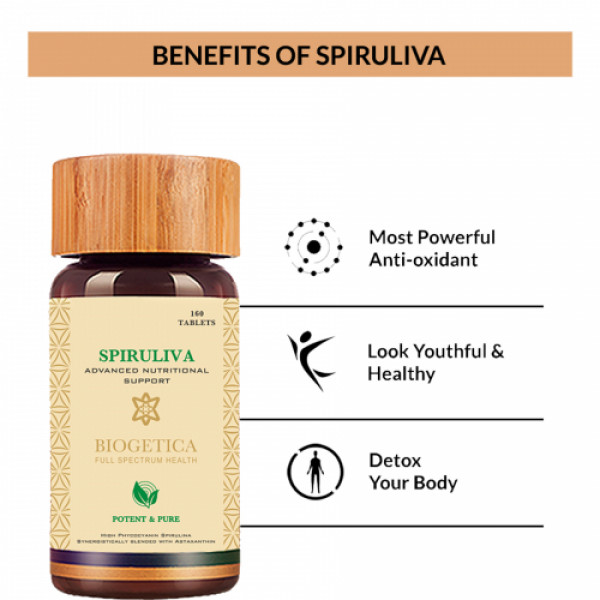 Biogetica SpiruLiva - Advance Nutritional Support, 160 Tablets