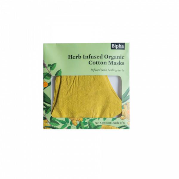 Bipha Ayurveda Herb Infused Organic Cotton Masks, (Pack Of 5)