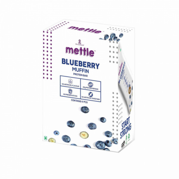Mettle Blueberry Muffin Protein Bar, 60gm (Pack Of 6)