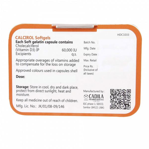 Calcirol 60000 IU Vitamin D3 Softgels, 8 Capsules