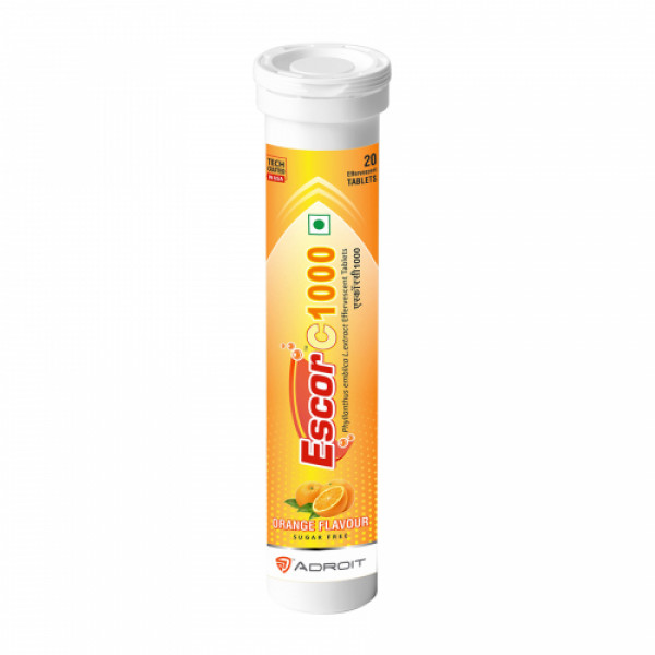 Escor C 1000 Effevescent Orange Flavour, 20 Tablets