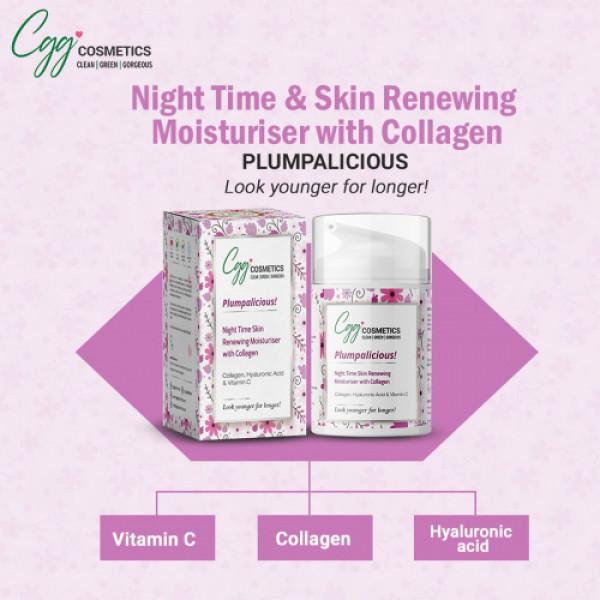 CGG Cosmetics Collagen, Hyaluronic Acid & Vitamin C Night Time Renewing Skin Moisturizer, 50ml