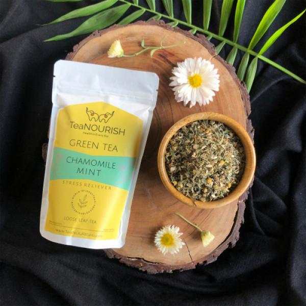 TeaNOURISH Chamomile Mint Darjeeling Green Tea, 50gm