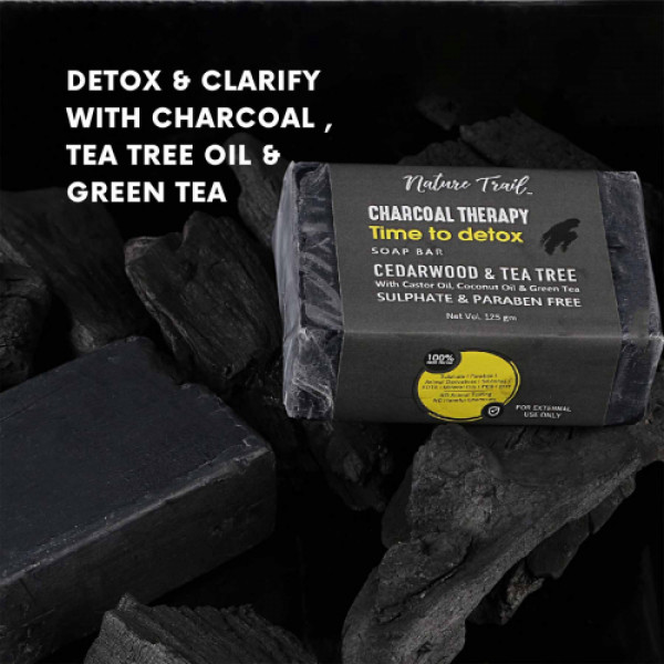 Nature Trail Charcoal Therapy Soap Bar, 125gm (Pack Of 3)