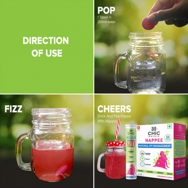 Chicnutrix Happee Effervescent - Strawberry, 20 Tablets