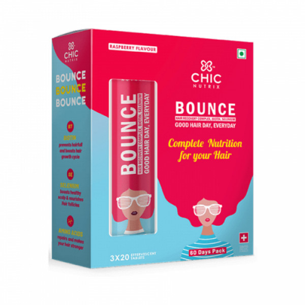 Chicnutrix Bounce Hair Recovery Complex Biotin With Selenium Effervescent - Raspberry Flavour, 60 Tablets