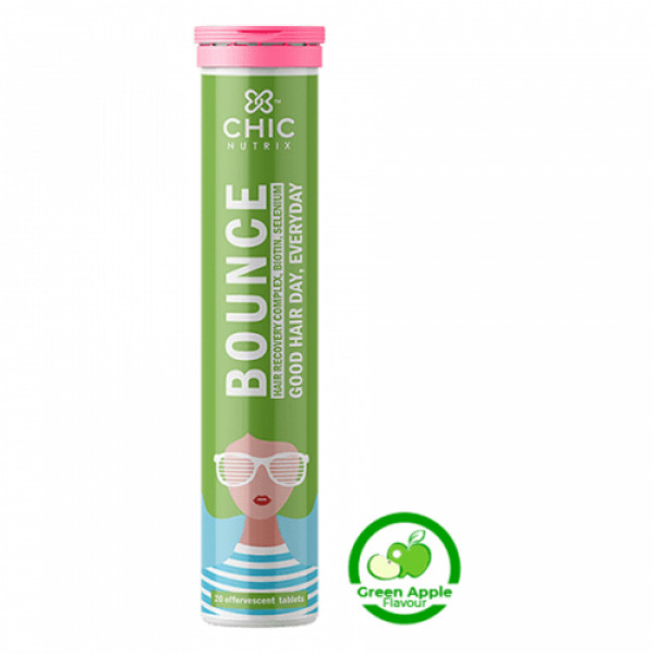 Chicnutrix Bounce Hair Recovery Complex Biotin With Selenium Effervescent - Green Apple Flavour, 20 Tablets