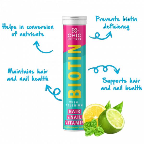 Chicnutrix Biotin with Selenium Effervescent - Lime & Lemon Flavour, 30 Tablets