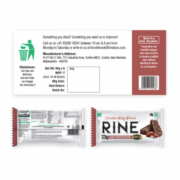 Rine Chocolate Nutty Almond Protein Bar, 60gm (Pack Of 6)