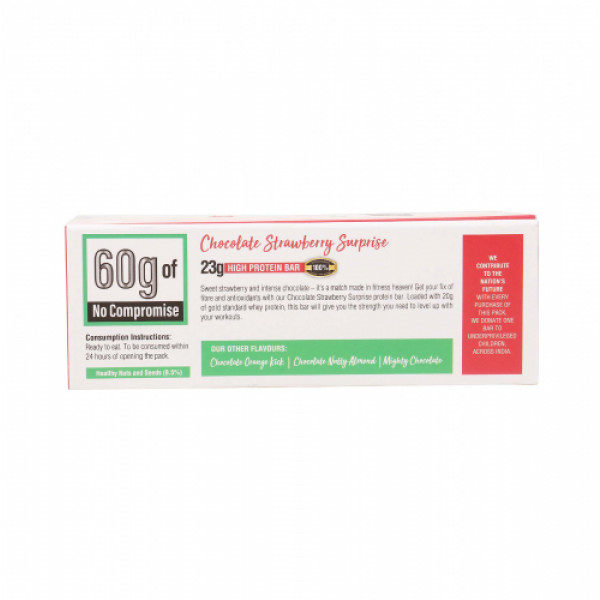 Rine Chocolate Strawberry Surprise Protein Bar, 60gm (Pack Of 6)