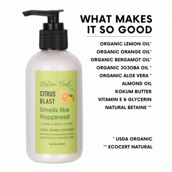 Nature Trail Citrus Blast Hand and Body Lotion, 200ml
