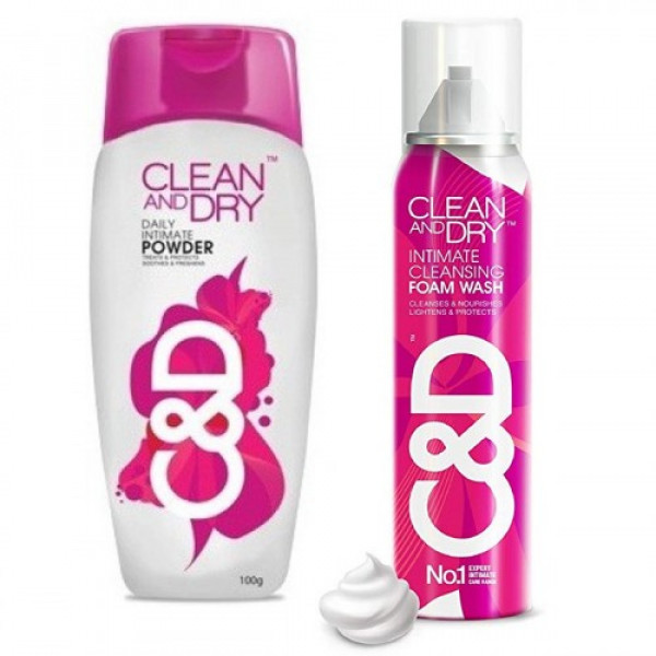 Clean and Dry Intimate Care Pack (Foam Wash + Powder)
