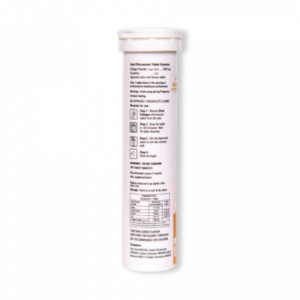 GlowGlutathione Collagen Effervescent - Pineapple, 15 Tablets
