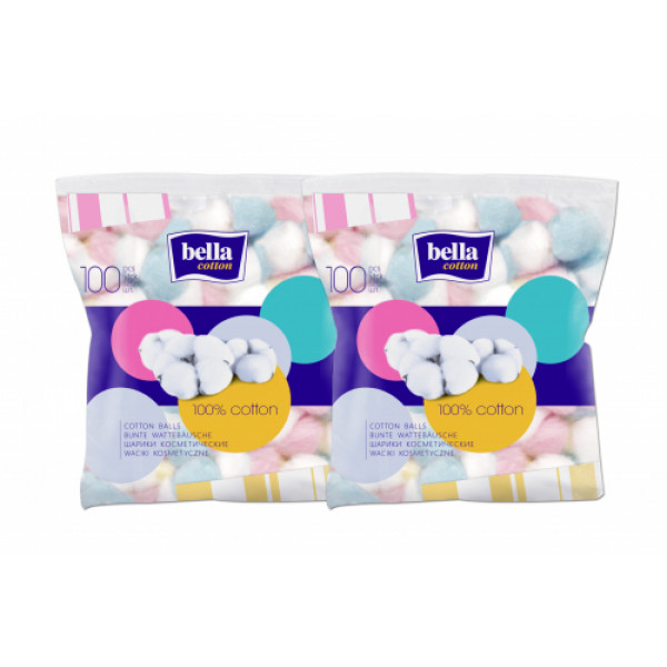 Bella Cotton Cosmetic Balls Coloured, 100 Pieces (Pack Of 2)