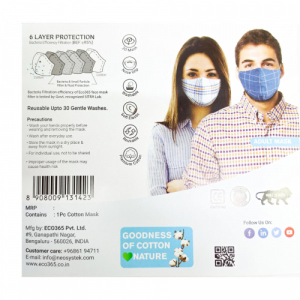 Eco365 Cotton Reversible 3D Mask - 6 Layer Protection Reusable Mask