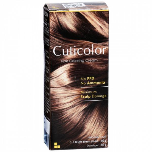 Cuticolor Hair Coloring Bright Brown (Gold) Cream, 60gm