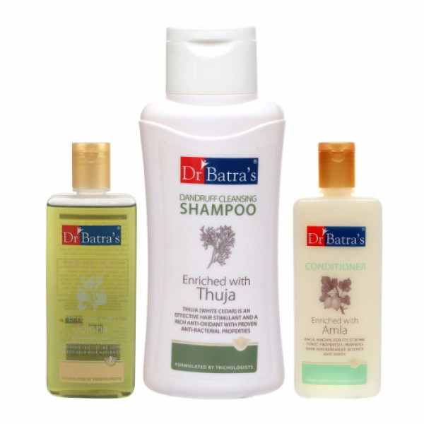 Dr Batra's Dandruff Cleansing Shampoo With Conditioner And Hair Oil Combo Pack
