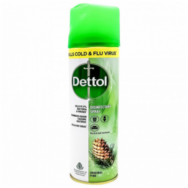 Dettol Disinfectant Spray - Original Pine, 170gm - 76.99% Absolute Alcohol - Kills Cold & Flu Virus