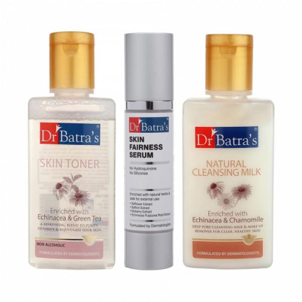 Dr Batra's Skin Toner With Natural Cleansing Milk And Skin Serum Combo Pack