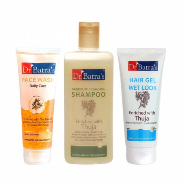 Dr Batra's Dandruff Cleansing Shampoo With Hair Gel And Face Wash Daily Care Combo Pack