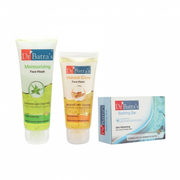 Dr Batra's Moisturizing Face Wash With Instant Glow Face Wash And Skin Refreshing Bathing Bar Combo Pack