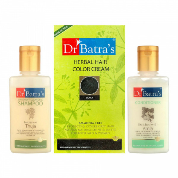 Dr Batra's Herbal Hair Color Cream (Black) With Dandruff Cleansing Shampoo And Conditioner Combo Pack