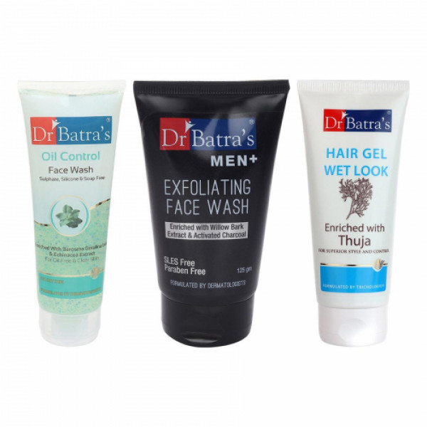 Dr Batra's Men Exfoliating Face Wash With Hair Gel And Oil Control Face Wash Combo Pack